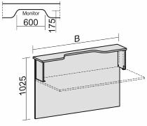 Geramöbel Thekenelement 830212 gerade mit Monitorausschnitt für Tischbreite 1200mm Ahorn