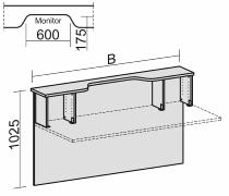 Geramöbel Thekenelement 830218 gerade mit Monitorausschnitt und Fachelementen für Tischbreite 1800mm Ahorn