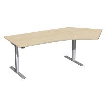 Geramöbel 08F1616 Elektro-Hubtisch Winkel 135° rechts (BxTxH) 2166x1130x650-1250mm Ahorn/Silber