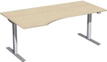 Geramöbel 08F1812 Elektro-Hubtisch Freiform links (BxTxH) 1800x1000x650-1250mm Ahorn/Silber