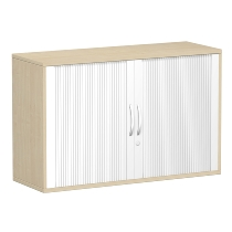 Geramöbel 312110 Anstell-Querrollladenschrank 2OH abschließbar (HxBxT) 720x1200x425mm Silber/Ahorn