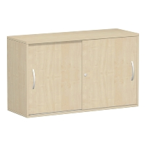 Geramöbel 312153 Anstell-Schiebetürenschrank 2OH abschließbar Schreibtischhöhe 72cm (BxT) 1200x425mm Ahorn/Ahorn