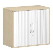 Geramöbel 381110 Anstell-Querrollladenschrank 2OH abschließbar Schreibtischhöhe 72cm (BxT) 800x425mm Silber/Ahorn