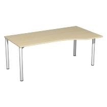 Geramöbel PC-Schreibtisch 550305 4-Fuß Flex PC rechts feste Höhe (BxTxH) 180x100x72cm Ahorn/Silber