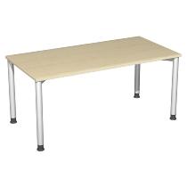 Geramöbel Schreibtisch 555103 4-Fuß Flex höhenverstellbar 68-80cm (BxT) 160 x 80cm Ahorn/Silber