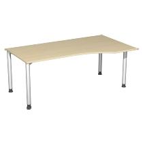 Geramöbel PC-Schreibtisch 555305 4-Fuß Flex PC rechts höhenverstellbar 68-80cm (BxT) 180x100cm Ahorn/Silber