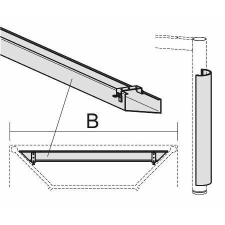 Geramöbel 555900 PC-Elektrifizierungs-Set für 4-Fuß Flex Schreibtische (Kabelwanne/Zubehör) Länge 60cm Anthrazit