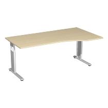 Geramöbel PC-Schreibtisch 617305 C-Fuß Flex PC rechts höhenverstellbar 68-82cm (BxT) 180x100cm Ahorn/Silber