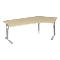 Geramöbel Schreibtisch 617316 C-Fuß Flex Winkel 135° rechts höhenverstellbar 68-82cm (BxT) 216,6x1130cm Ahorn/Silber
