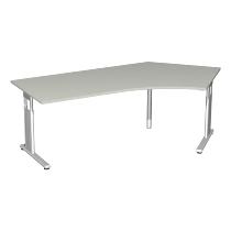 Geramöbel Schreibtisch 617316 C-Fuß Flex Winkel 135° rechts höhenverstellbar 68-82cm (BxT) 216,6x1130cm Weiß/Silber