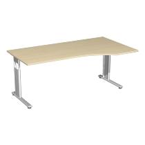 Geramöbel PC-Schreibtisch 618305 C-Fuß Flex PC rechts feste Höhe (BxTxH) 180 x 100 x 72cm Ahorn/Silber