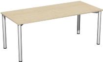 Geramöbel 710126 Konferenztisch Rundfuß feste Höhe, 1800x800x720, Ahorn/Silber