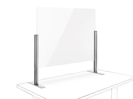 Novus 854+0469 POS Protect F Acrylglastrennwand (BxH)100x750mm mit Standfuß Silber