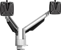 Novus 990+4019 Monitortragarm Clu Duo C Silber mit 3-in-1 Tischbefestigung Belastbar 2-7 kg