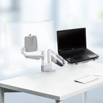 Novus 990+4519 Monitortragarm Clu Notebook combination mit 3-in-1 Befestigung Silber