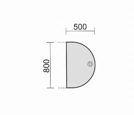Geramöbel 617006 Anbautisch halbrund C-Flex (BxT) 50x80cm höhenverstellbar Ahorn/Silber