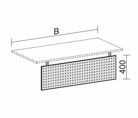 Geramöbel Knieraumblende 08EKB12 gelocht (BxH) 1200x392mm Silber