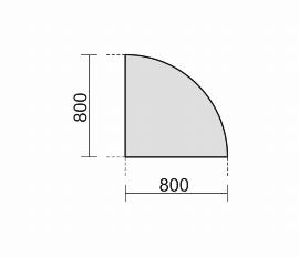 Geramöbel Verkettungsplatte 657108 4-Fuß PRO Viertelkreis 90° Tiefe 80x80cm Buche