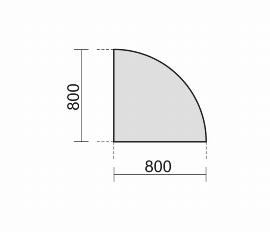 Geramöbel 647108 Verkettungsplatte Viertelkreis 90° (BxT) 800x800mm Ahorn